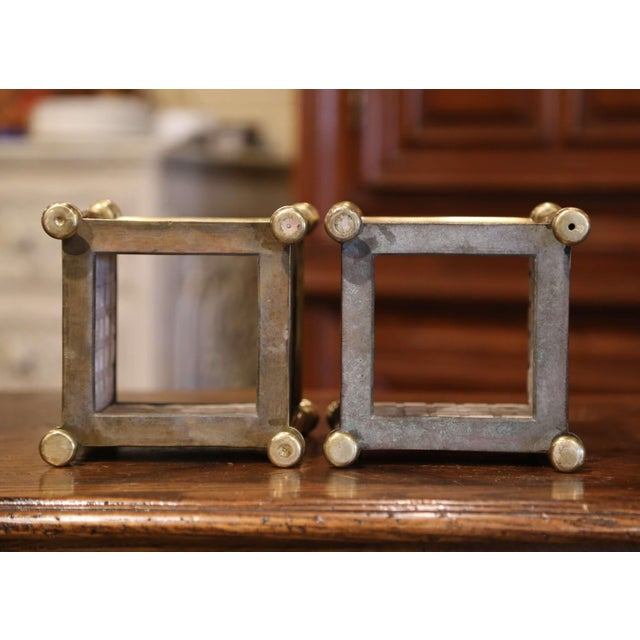 English Brass Jardinières With Hand Painted Porcelain Tiles - a Pair For Sale - Image 9 of 10