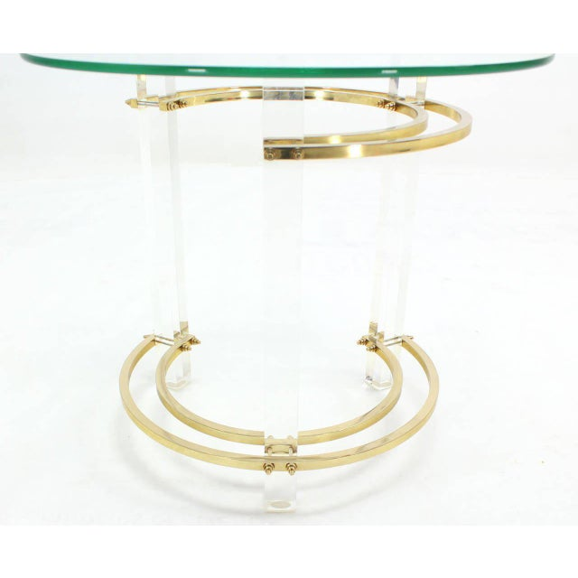 Charles Hollis Jones Round Lucite and Brass Side Table For Sale - Image 4 of 8