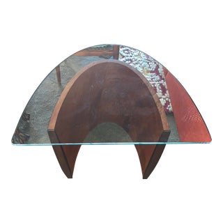 Modern Richard Judd Signed Glass Top Side Arch Table For Sale
