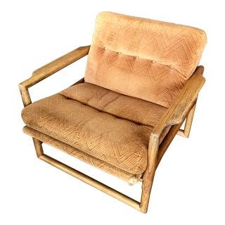 1960s Mid-Century Milo Baughman Tufted Velvet Oak Scoop Chair For Sale