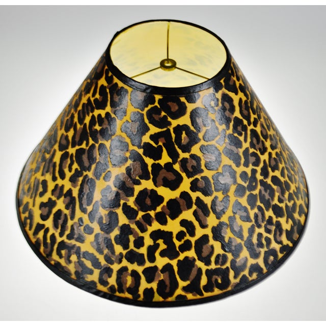 Vintage Hand Painted Animal Print Lamp Shade For Sale - Image 4 of 13