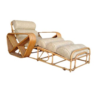 Rare Restored Pair of Paul Frankl Rattan Chaise Lounge Chairs w/ Pretzel Arms For Sale
