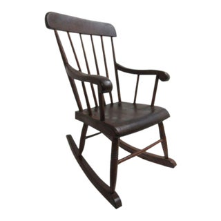 Antique Plank Bottom Child's Rocking Chair For Sale