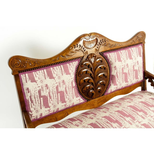 Wood Mid-19th Century Hand Carved Mahogany Victorian Style Settee For Sale - Image 7 of 13