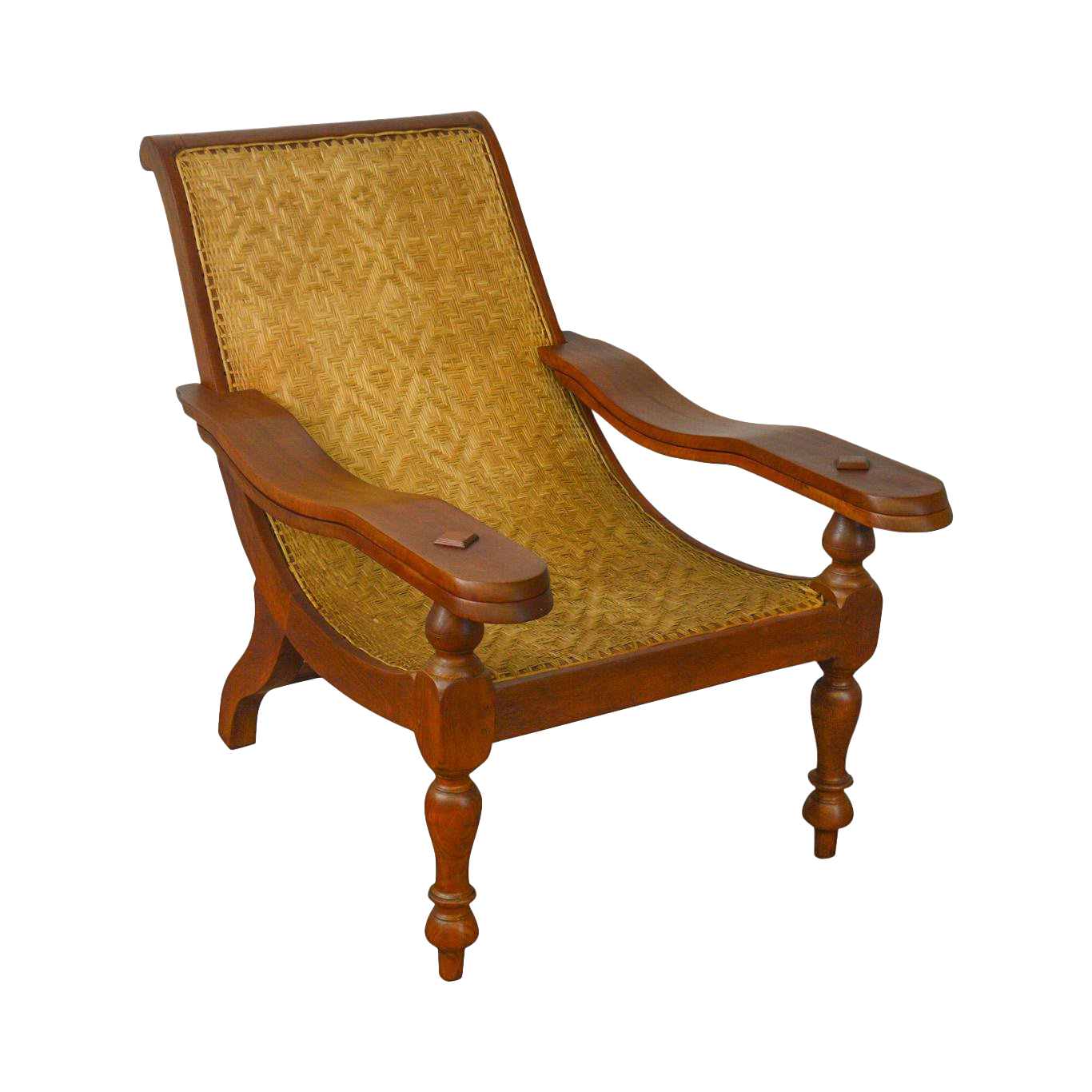 British Colonial West Indies Hardwood And Rattan Plantation Lounge Chair