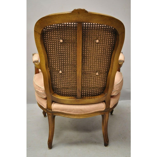 French Louis XV Provincial Style Carved Walnut Cane Back Arm Chairs - a Pair For Sale In Philadelphia - Image 6 of 11