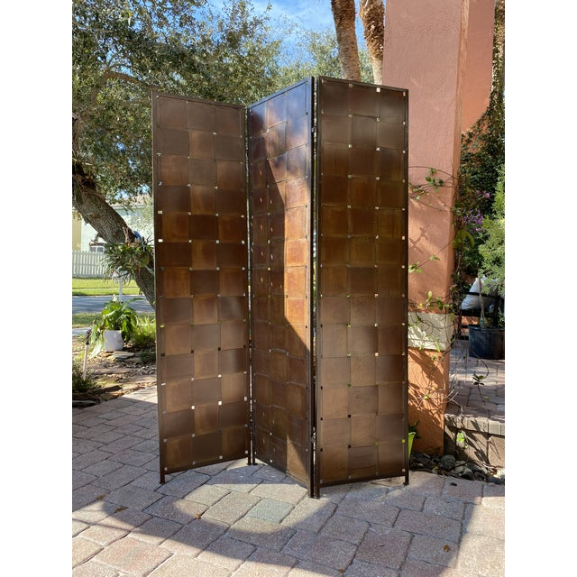 Woven Metal Folding Room Divider Screen 3-Panel For Sale - Image 11 of 11
