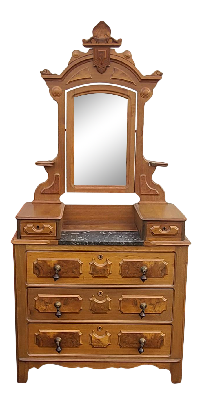 Antique Burl Walnut Victorian Eastlake Bedroom Dressing Table Chest W Mirror Chairish