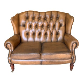 Vintage Mid-Century English Leather Wingback Chesterfield 2 Seat Sofa, Cognac For Sale