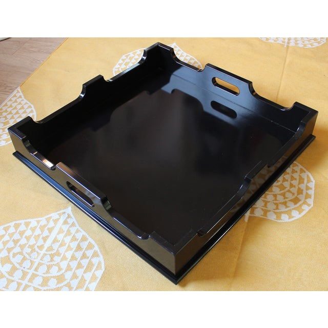 "Oomph ""Edgartown"" Square Black Lacquer Tray - Image 2 of 8"
