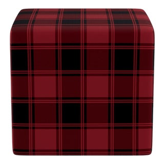 Cube Ottoman in Red Tartan For Sale