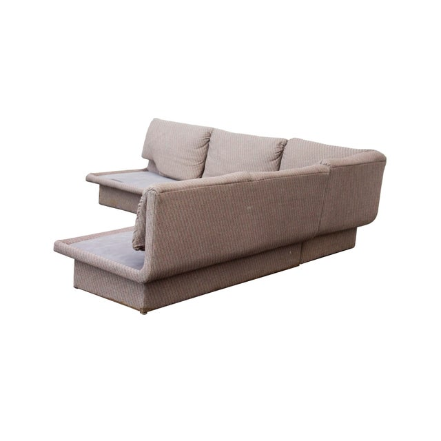 Loungey three piece sectional sofa by Bernhardt. Cool L-shaped sides, flip over back cushions, sleek profile. Excellent...