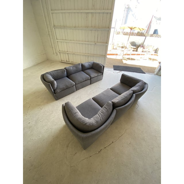 1970s Milo Baughman Scalloped Back Modular Sectional Sofas - A Pair For Sale - Image 5 of 10