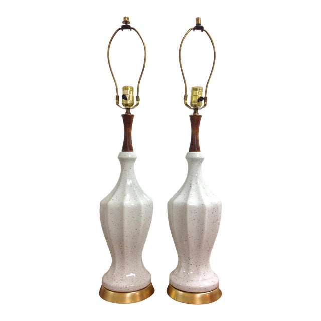 White Ceramic Gold Flecked Table Lamps - a Pair For Sale