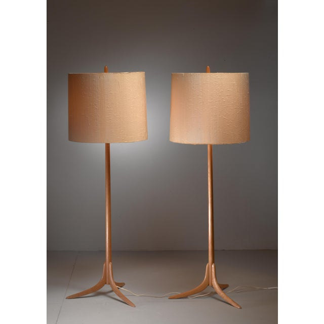 Mid-Century Modern Pair of Swedish oak Floor Lamps, 1960s For Sale - Image 3 of 4