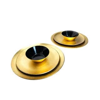 Vintage Mid Century Gold Leaf Otagiri Japanese Lacquer Ware Serving Set- 6 Pieces For Sale