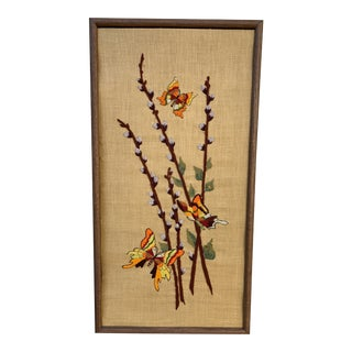Vintage 1970s Butterflies & Pussywillow Embroidered Wall Decor For Sale