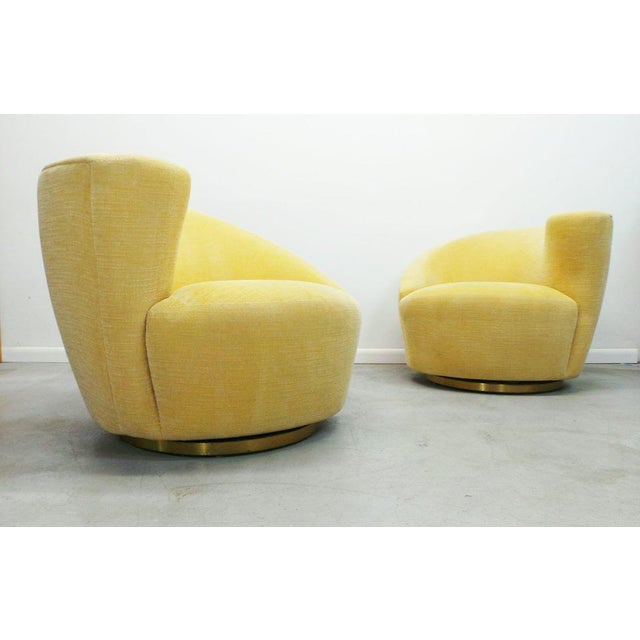 """Post Modern Vladimir Kagan for Weiman Swivel """"Nautilus"""" Corkscrew Club Chairs- A Pair For Sale - Image 13 of 13"""