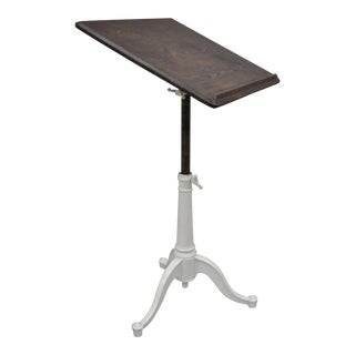 Eugene Dietzgen Cast Iron & Wood Tripod Base Drafting Work Table Desk For Sale