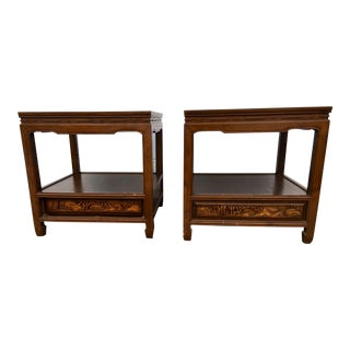 1960s Vintage Ming Hand Carved Rosewood Side Tables- A Pair For Sale