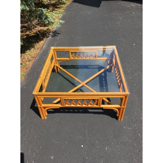 1960s Rattan Glass Top Table For Sale - Image 4 of 5