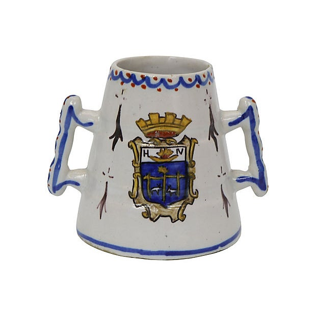 Antique French Faience Crested Posy Vase For Sale - Image 4 of 4