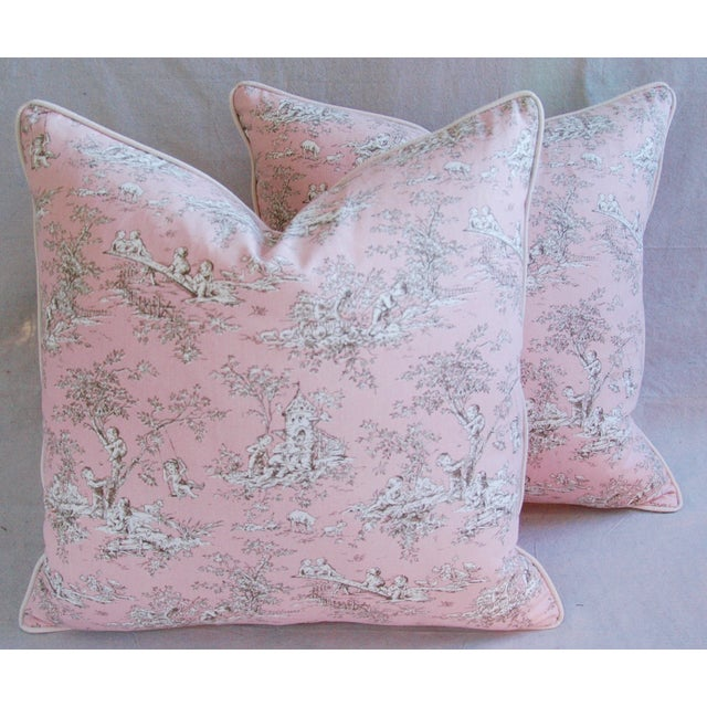 Designer French Pink Toile & Velvet Feather/Down Pillows - Pair - Image 2 of 11