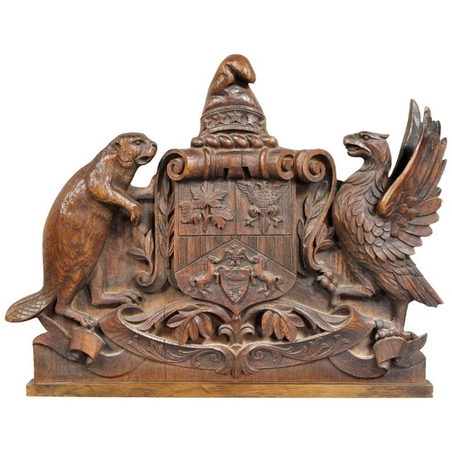 German Carved Oak Coat of Arms For Sale - Image 9 of 9