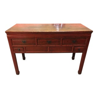 Chinese Red Lacquered Console