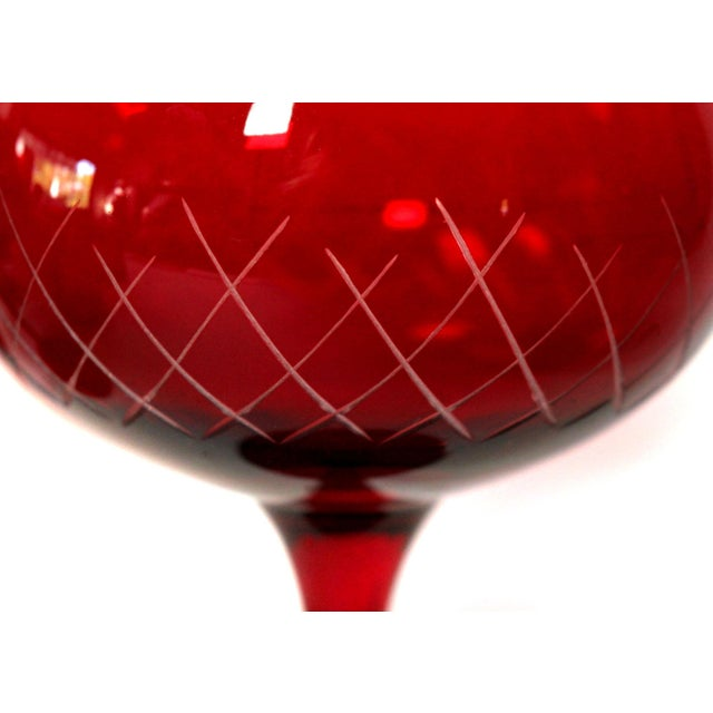 Early 20th Century Antique Cut Cranberry Wine Goblets & Lowball Glassware, Set of 16 For Sale - Image 5 of 7