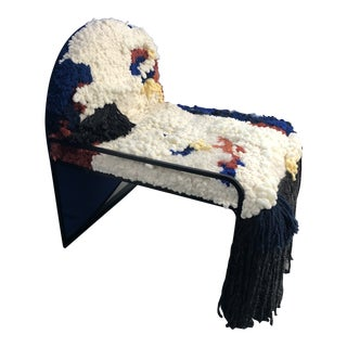 Soft-Geometry Textile Art Fluffy Chair For Sale