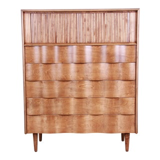 Edmond Spence Wave Front Highboy Dresser For Sale