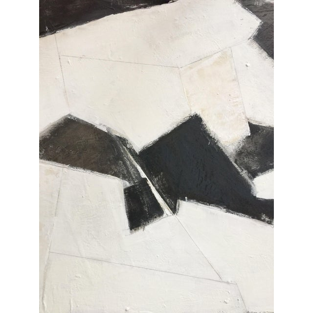 2010s Black, White and Beige Abstract Painting For Sale - Image 5 of 8