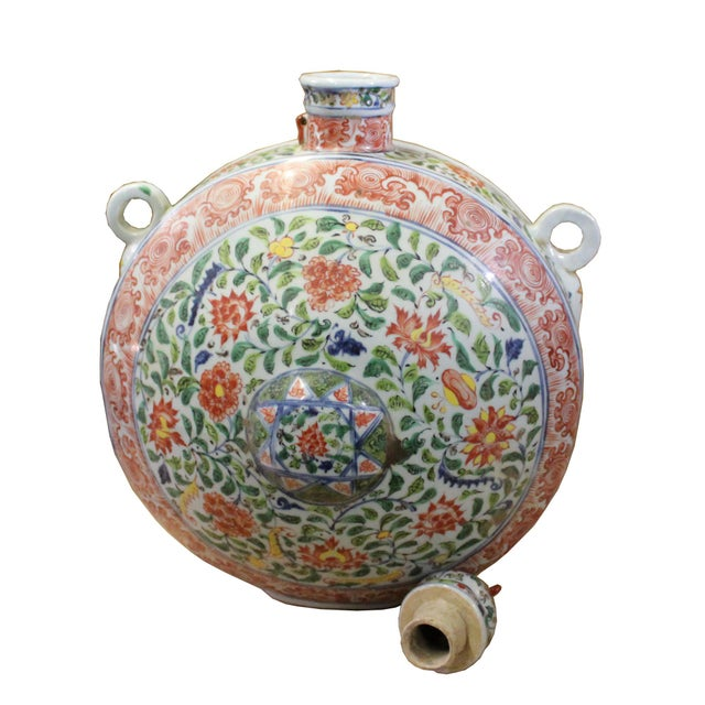 Chinese Handmade Multi-Color Flower Porcelain BaoYue Pot Jar For Sale In San Francisco - Image 6 of 8
