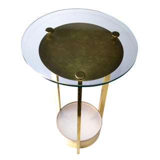 Dorothy Thorpe Illuminated Brass and Glass Side Table For Sale