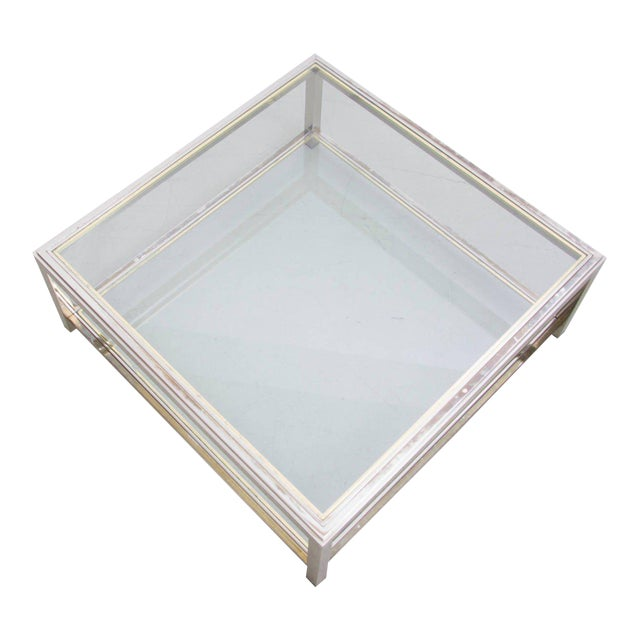 Two-Tier Brass and Chrome Coffee Table attributed to Willy Rizzo For Sale