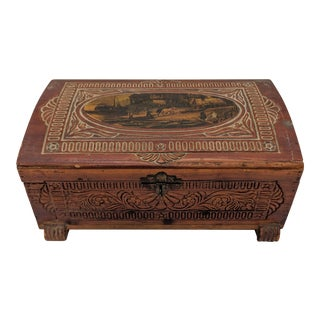 20th Century Folk Art Carved Cedar Wood Box For Sale