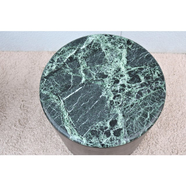 Mid Century Modern Paul Mayen Style Green Marble Top Drum Side Tables - a Pair For Sale - Image 9 of 13