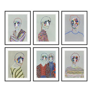 Set of 6 Portraits by Robson Stannard in Black Frame, Small Art Prints For Sale