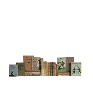 Midcentury Kid's Book Set in Khaki : Set of Twenty Five Decorative Books