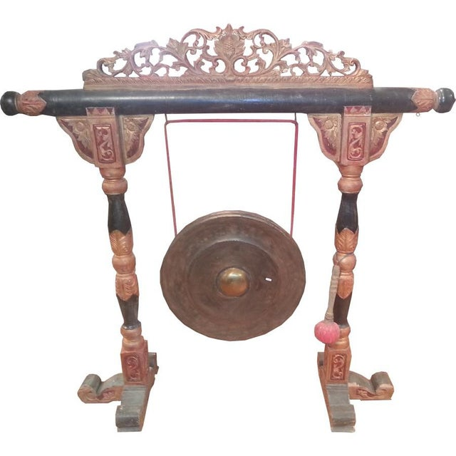 """Mid-Century Modern Indonesian """"Gong"""" on Carved Stand For Sale - Image 3 of 3"""