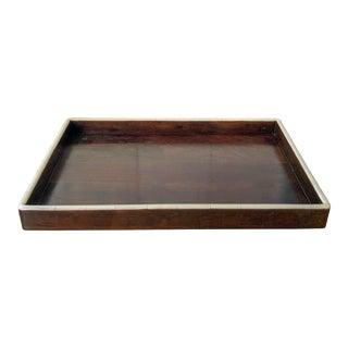Oversize Bone & Teak Tray For Sale