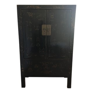 Chinese Antique Black Lacquer Cabinet With Red Sides, C.1824 Shanxi, China For Sale