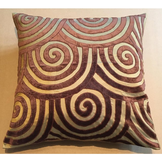 """Detailed stitch work. Quality materials. Why it is not considered in """"excellent"""" shape: The back of this pillow is cotton..."""