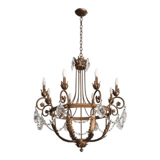 Gold Acanthus Leaf Chandelier With Large Crystal Drops For Sale