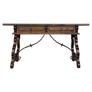 18th Century Solid Walnut Baroque Lyre-Leg Trestle Refectory Desk Writing Table For Sale
