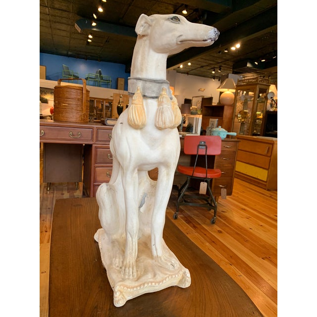 A finely finished vintage Italian whippet statue, made of a fine cementitious plaster material. Heavy and with a pleasing...