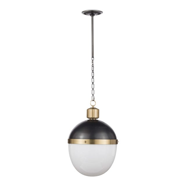 Otis Pendant Large in Blackened and Natural Brass For Sale