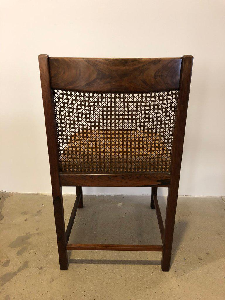 Brown Pair Of Brazilian Rosewood Chairs With Original Caned Backs And  Leather Seats For Sale