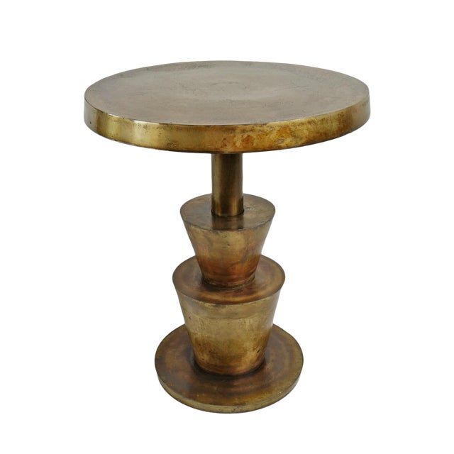 Brass Deco Modern Side Table For Sale